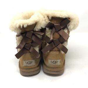Ugg Chestnut Bailey Bow Short Boots Girls Sz 3
